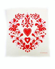 Swedish Dishcloth - Red Swedish Heart