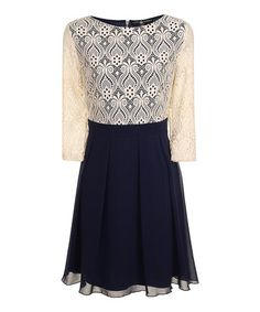 Look what I found on #zulily! Navy & Cream Pleated Fit & Flare Dress #zulilyfinds