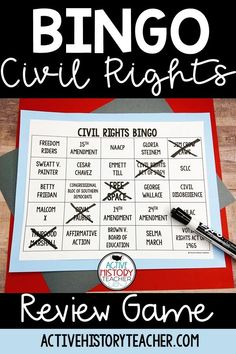 Play Bingo to review your Civil Rights Unit!  This product includes 36 unique player cards and 2 versions of teacher questions.  Print and go!  #civilrightsreview #ushistoryreviewgame #activehistoryteacher
