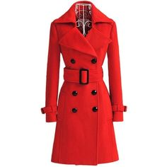 QinYing Women Hot Red Winter Buttons Waist Band Long Woolen Coat found on Polyvore featuring polyvore, women's fashion and clothing
