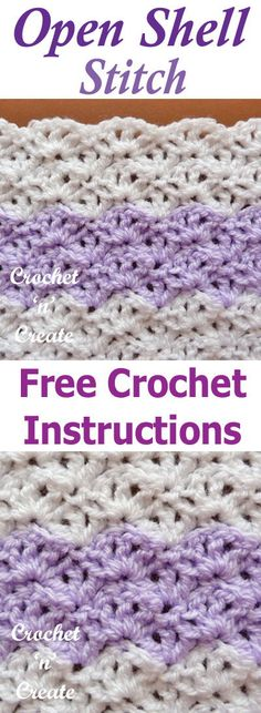 Open shell crochet stitch a free tutorial from #crochetncreate crochet with any yarn or hook size. #fcrochettutorial #crochetstitch