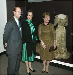 HRH The Earl of Wessex, HRH The Princess Royal and HM The Queen of Norway, with Maud's gown on the right