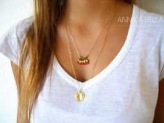 A Beautiful, delicate Boho layered set of 2 separate necklaces. Each of these necklaces can be worn on its own or in this set of 2.  Material: - 2 different 14K gold filled... #coin #orange