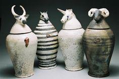 / > looks like the inspiration was Egyptian canopic jars Ceramic Boxes, Ceramic Jars, Ceramic Clay, Ceramic Pottery, Pottery Art, Ceramic Animals, Clay Animals, Ceramics Projects, Clay Projects