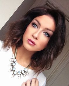gorgeous makeup  medium length hairstyle ~ we ❤ this! https://moncheriprom.com #prommediumhair Check out more haircuts for varoius hair length at http://unique-hairstyle.com/medium-haircut-for-women/