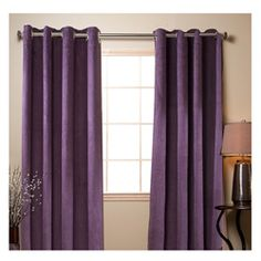 Purple Poly Suede 84-inch Grommet Curtain Panel Pair | Overstock.com Shopping - Great Deals on Curtains