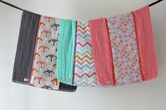 Baby Burp Cloth Gift Set of 3 Colorful Foxes Chevron by owesley