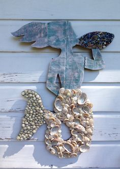 Mermaid Wall Art/Seashell Mermaid/Beach House Art ~ by My Honeypickles