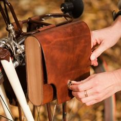 leather and cedar pocket pannier