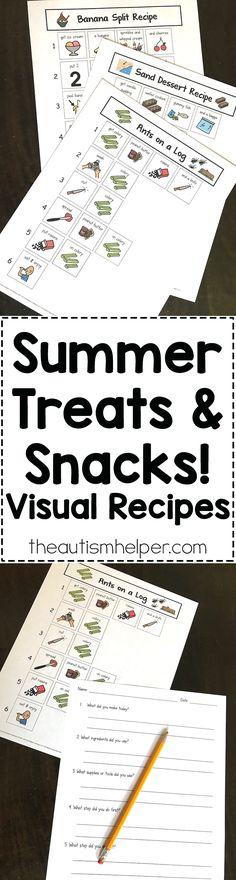 Summer Treats & Snacks Visual Recipes - The Autism Helper Life Skills Classroom, Autism Classroom, Special Education Classroom, Classroom Crafts, Classroom Ideas, Social Skills Activities, Sensory Activities, Learning Activities, Kids Learning