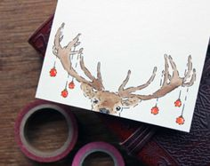 Set of 12 Printed Christmas Cards Deer Xmas by DrawforToffee
