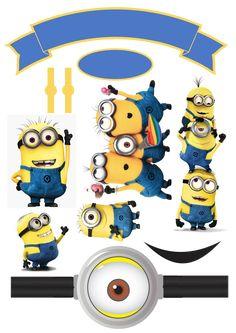 Topo de Bolo Minions  Renovart brindes e personalizados Minion Theme, Minion Birthday, Minion Party, Minions 2, Bolo Minion, Charger Plate Crafts, Homemade Stickers, Baby Clip Art, Paper Cake