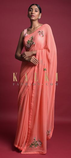 Lei Flower Peach Saree In Chiffon With Thread And Beads Embroidered Floral Motifs Online - Kalki Fashion Indian Attire, Indian Wear, Anarkali, Lehenga, Peach Saree, Flower Lei, French Knots, Chiffon Saree, Party Wear Sarees