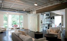 .Perfect for the basement.  Love everything!  The white walls and natural grey concrete floor is fantastic.  I love that the exposed ceiling and some of the pipes are painted white, but other pipes/ducts are left unpainted.  The lights are very industrial, and fit in well with the space.