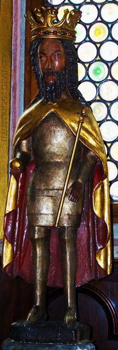 14th century Statue of Polish Israelite/Negroid King Casimir III the Great / Król Kazimierz III Wielki, from Collegiate church in Wiślica, Poland…