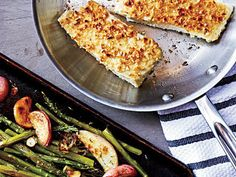 Hazelnut-Crusted Halibut with Asparagus | Serve up easy, delicious dinners every night (in 45 minutes or less!) with these healthy, family-friendly recipes.