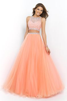 2015 Bateau Beaded Bodice A Line/Princess Prom Dress Pick Up Tulle Skirt Floor Length