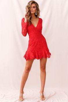 e14fd8b7f9 Buy the Kyle Long Sleeve Lace Dress Red | Selfie Leslie Kyle Long, Lace  Dress