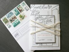 Wedding invitations using Letterpress printing by Studio On Fire. I love all the carefully selected stamps