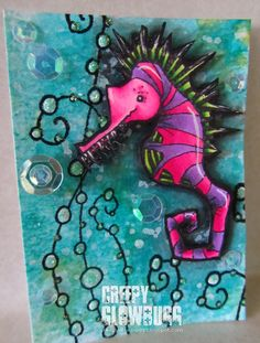 Artwork created by Creepy Glowbugg using rubber stamps designed by Daniel Torrente for Stampotique Originals