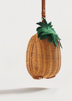 Clutch aus raffiabast mit ananas-motiv - Damen | MANGO Deutschland