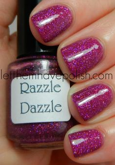 Pam's Girly Bits Razzle Dazzle over Nicole by O.P.I Our Fuchsia's Lookin' Bright - it's a party on your nails!