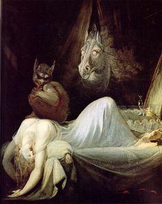 Heinrich Füssli De nachtmerrie 1790-1791 doek ca.77 x 64 cm. In een aantal landen is wit de kleur van de rouw. Schimmen uit het dodenrijk worden vaak lijkwit weergegeven. Wit als occulte kracht, voedingsbodem voor fantasie en angst voor het onbekende in het wit weergegeven. Vrouw zelf wit en nachthemd ook. Op de vrouw een monster, erachter een wit paard. let op neusvleugels en ogen. het witte kleed is symbolisch voor maagdelijkheid. Nachtmerrie en onschuld ontmoeten elkaar.