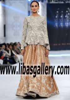 Superlative Peplum Bridal Dress for Engagement and Formal Events - We love our New Collection Bridal Lehenga with the super talented Designer. A very special couture bridal piece. www.libasgallery.com #UK #USA #Canada #Australia #France #Germany #SaudiArabia #Bahrain #Kuwait #Norway #Sweden #NewZealand #Austria #Switzerland #Denmark #Ireland #Mauritius #Netherland #Partywear #SpecialOccasionDresses #SpecialOccasionDress #style #latest  #newcollection #luxury #fashion #fashionideas