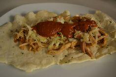 "Pulled Pork ""New England"", mit Oregano Wrap und selbstgmachter BBQ Sauce Bbq, Wrap, Pulled Pork, New England, Tacos, Mexican, Ethnic Recipes, Food, Coleslaw Salad"
