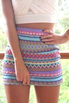 Multi-colored diamond skirt