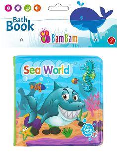 """Mäkká pískacia knižka s farebnými obrázkami stimuluje rozvoj zmyslov dieťaťa. Spojenie výučby s dobrou zábavou podporuje chuť dieťaťa spoznávať, učiť sa a zapamätať si nové slová a predmety. Slúži ako výborná hračka a zároveň prvá """"učebnica"""" vášho dieťaťa. Môže byť použitá ako hračka do vody. Je vyrobená z bezpečných, hygienicky nezávadných materiálov, ľahko sa udržuje v čistote. Best Bath, Sea World, Bambam, Nasa, Books, Fun, Libros, Book, Book Illustrations"""