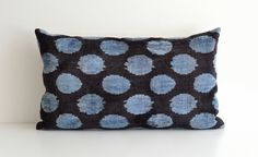 Light Blue Ikat Pillow  Blue Polka Dot Pillow 14 x 24 - for chair