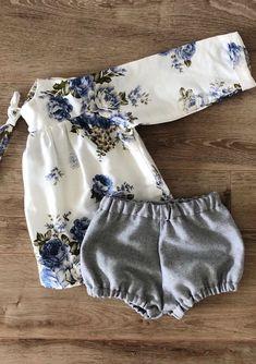Handmade Floral Baby Toddler Blouse & Bloomers | MiyaAndMa on Etsy