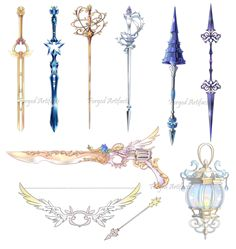 Custom works by Forged-Artifacts. on - Wooden Artifacts Fantasy Sword, Fantasy Weapons, Fantasy Art, Sword Design, Anime Weapons, Magical Jewelry, Weapon Concept Art, Fashion Design Drawings, Magic Art
