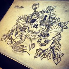 IB Design ( tattoo sketch dutch netherlands skull skulls snake key roses chest piece chestpiece)