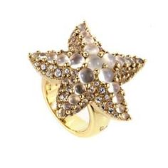 Pomellato Sirene 18K Yellow Gold Moonstone Starfish Ring A.A704O2ADTB