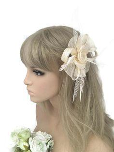 Elegant Beige Cream Fascinator Hair Clip with Feathers Rose Flower Bow Design