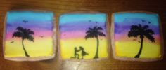 Hand-painted sunset proposal palm tree Sugar cookies made with royal icing