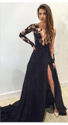 Sexy Prom Dress, Long Sleeves Prom Dresses, Black Evening Dresses