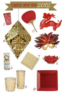 Red & Gold chinese-new-year colors Chinese Theme Parties, Asian Party Themes, Chinese New Year Party, Chinese New Year Decorations, New Years Decorations, Wedding Chinese, Christmas Decorations, Hanging Decorations, Party Ideas