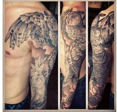 love how the wing comes over the shoulder plus nice owl - done by James Robinson owner of Gilded Cage Tattoo Studio