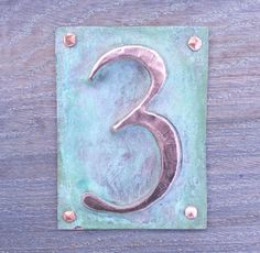 Metal Plaque house number 1 x 3/75 mm in by DavidMeddingsDeSign, £10.95