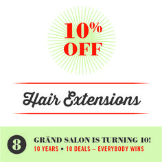 You still have time to take advantage of our AMAZING 10th anniversary 10-10 wins promotion! Save 10% off hair extensions (!!!) through the end of September! Book today. :) #tentenwins #grandsalon #citysalon #hair #salon #hairextensions