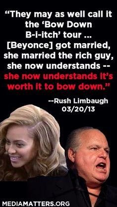 "Rush Limbaugh's sexist misinterpretation of the Beyonce song ""Bow Down."""