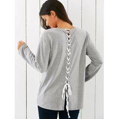 Long Sleeve Lace-Up T-Shirt