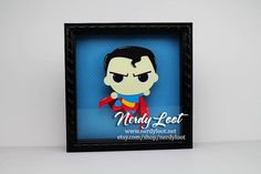 Cutie Superman Framed in 8x8 Shadowbox by NerdyLoot on Etsy