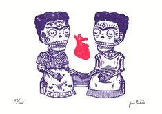Las Dos Fridas Gocco Print   Flickr - Photo Sharing! By Jose Pulido