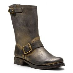 Coach/frye tie up .. Beautiful gold burnished boot