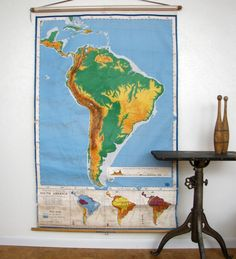 Large Vintage Wall Map Nystrom School Map South America Large Mid Century Litho on linen babcked Paper. $135.00, via Etsy.