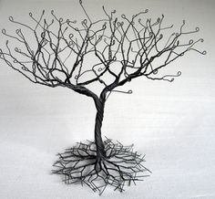 "Black large ""Earring""  Tree Stand,  wire tree sculpture.  perfect for necklaces , earrings ,  rings , etc.  display holder tree , organizer."